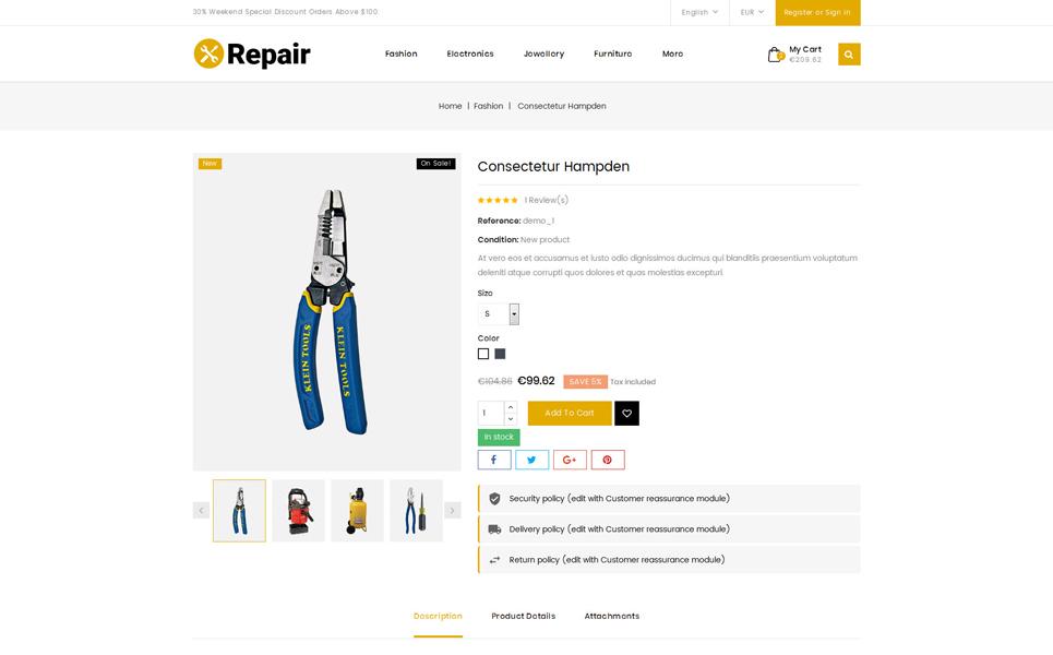 Repair Tools Store PrestaShop Theme