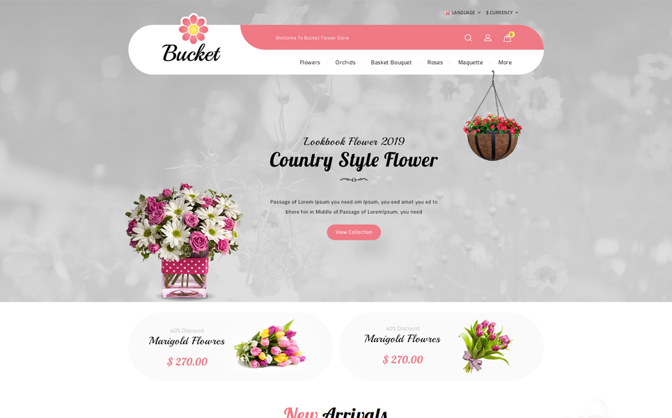 Bucket Flowers Store OpenCart Template