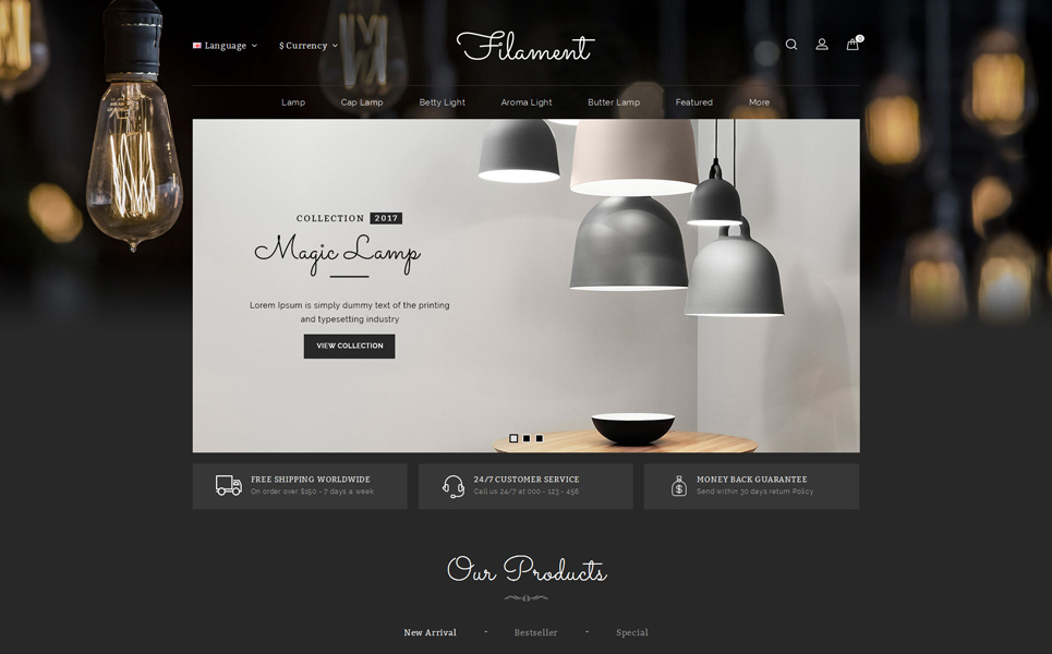 Filament Lighting Store OpenCart Template