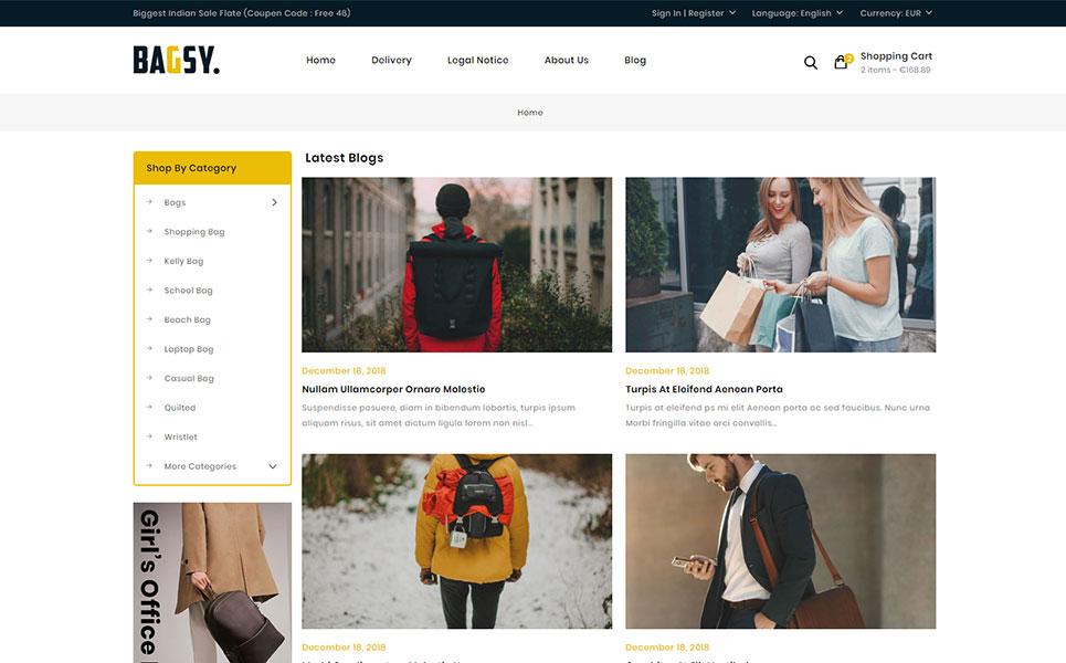 Bagsy - Travel Bag Store PrestaShop Theme