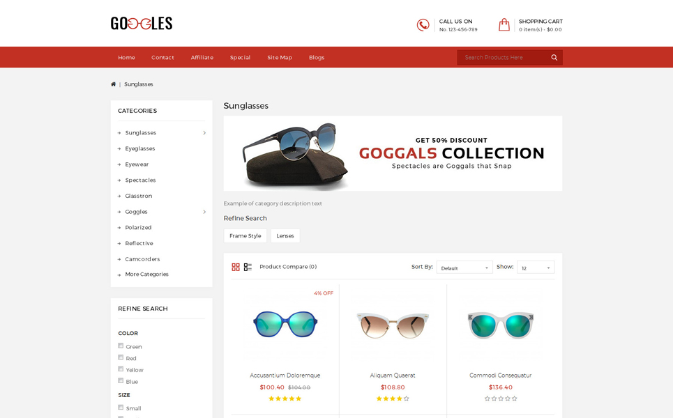 Googles Store OpenCart Template