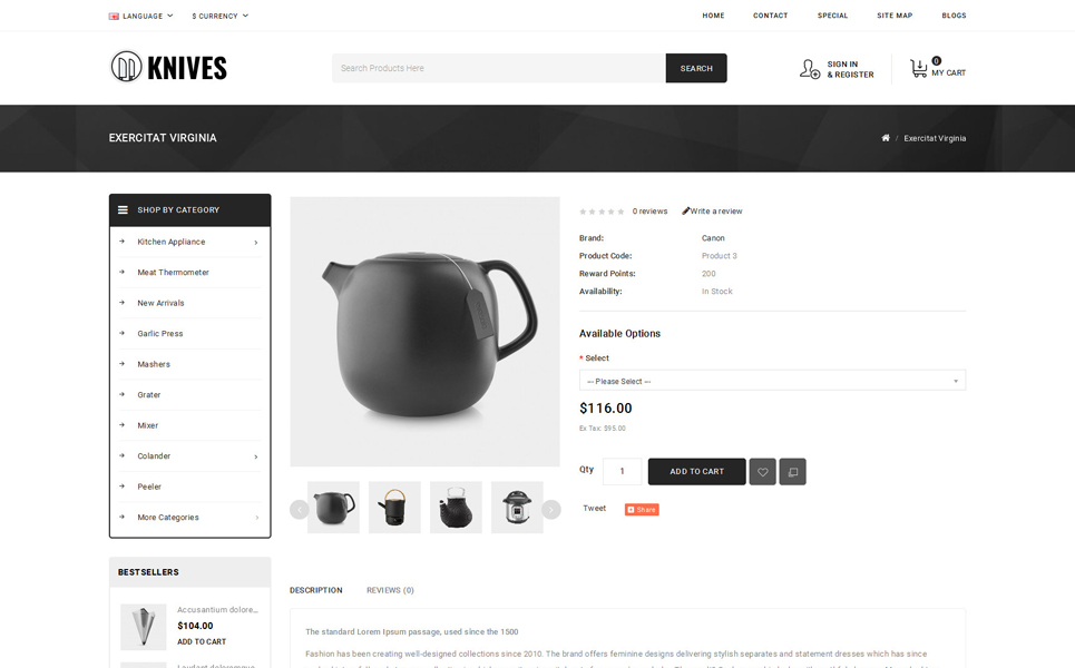 Knives - Kitchen Appliances Store OpenCart Template