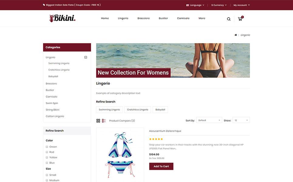 Bikini - Lingerie Store OpenCart Template