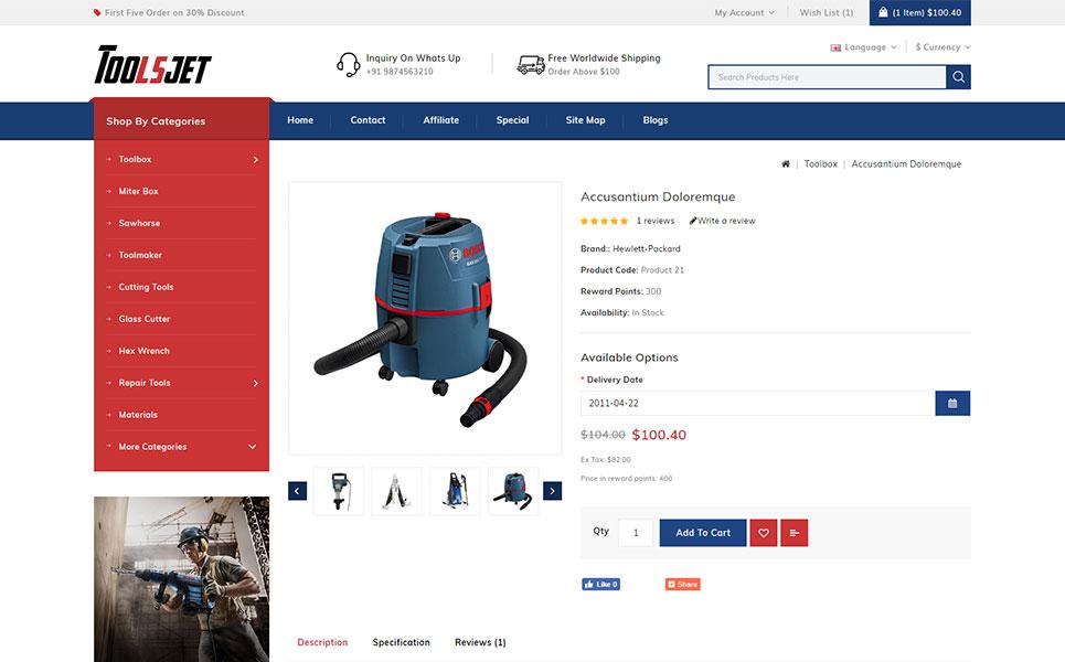 Toolsjet - Hardware Store OpenCart Template