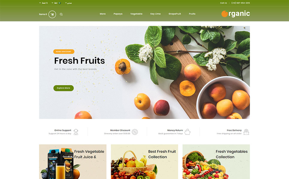 Organic Fruits Store OpenCart Template