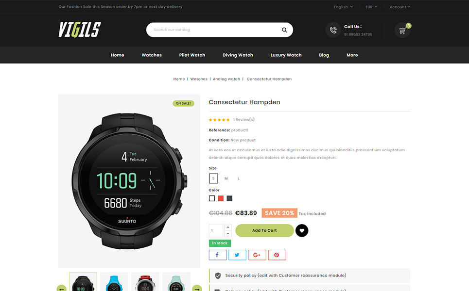 Vigils - Smart Watch Store PrestaShop Theme