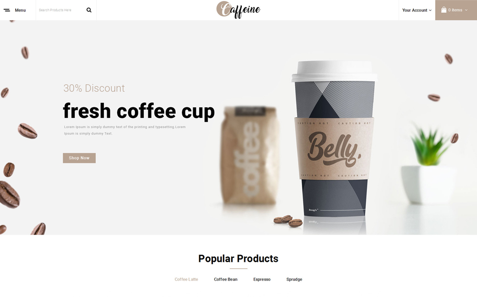 Caffeine - Coffee Store OpenCart Template