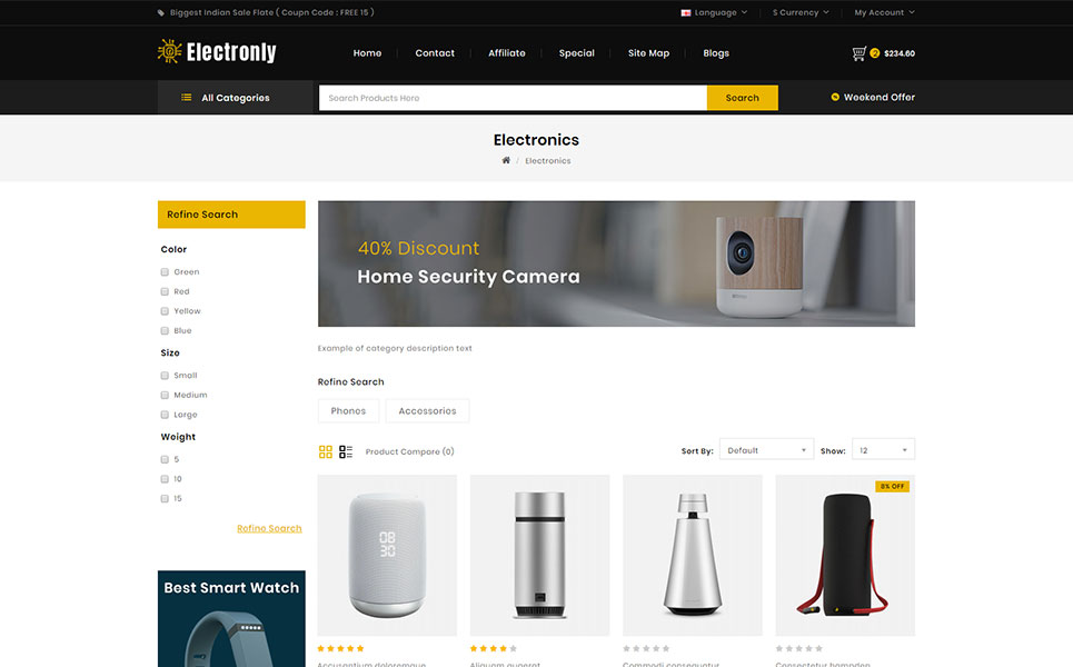 Electronly - Digital Store OpenCart Template