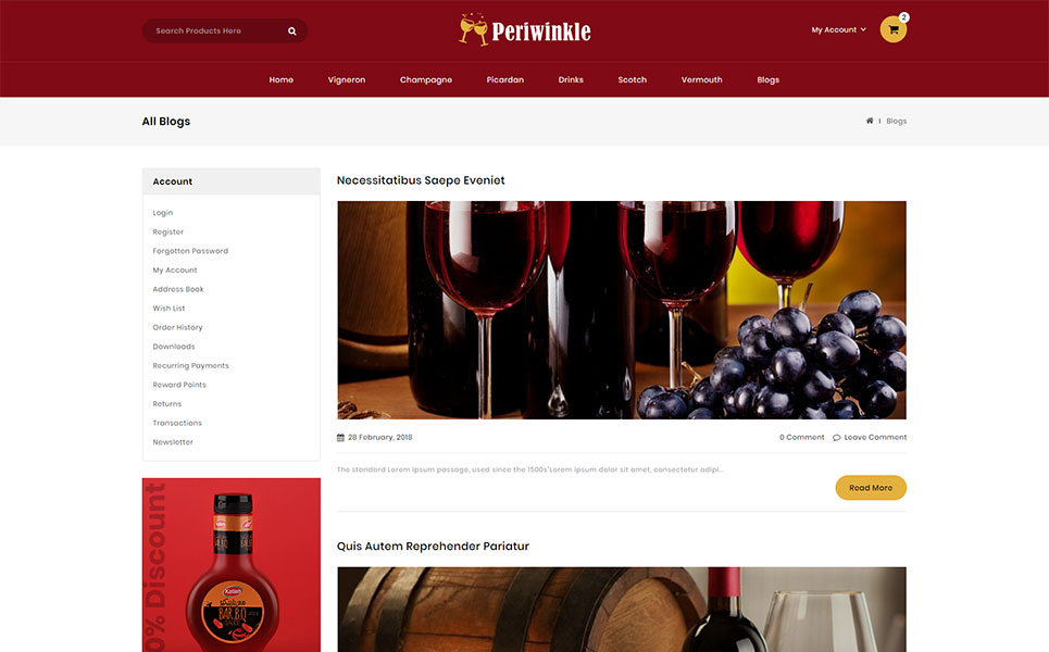 PeriWinkle - Wine Store OpenCart Template