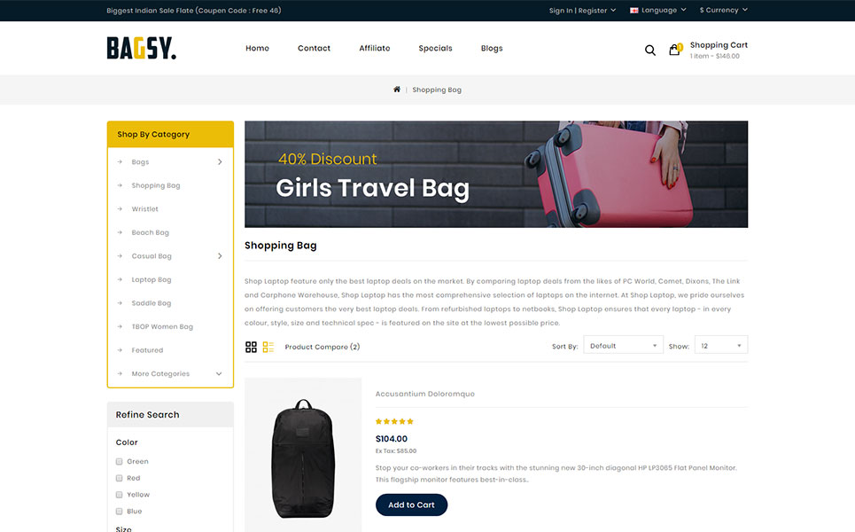 Bagsy - Bag Store OpenCart Template