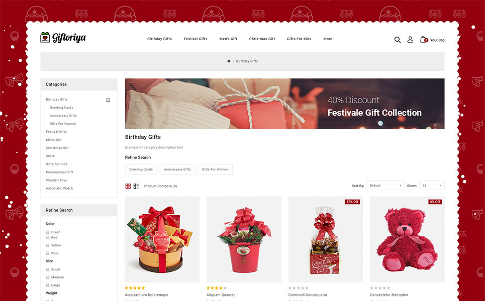 Giftoriya - Gifts Store OpenCart Template