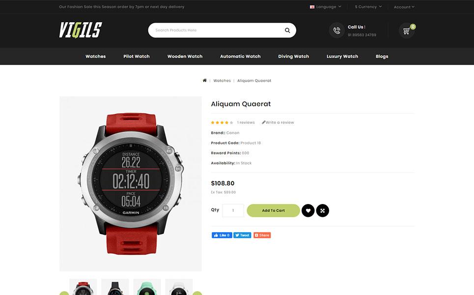 Vigils - Smart Watch Store OpenCart Template