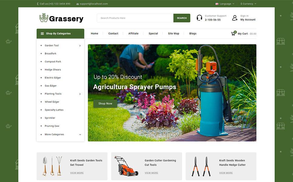 Grassery - Garden Tools Store OpenCart Template