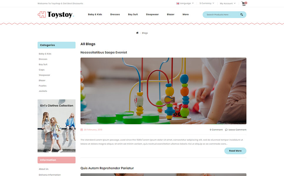 Kids Cloth & Toy Store OpenCart Template