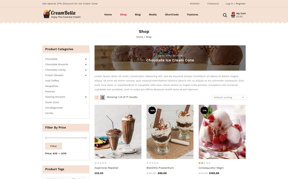 CreamBella IceCream Store WooCommerce Theme