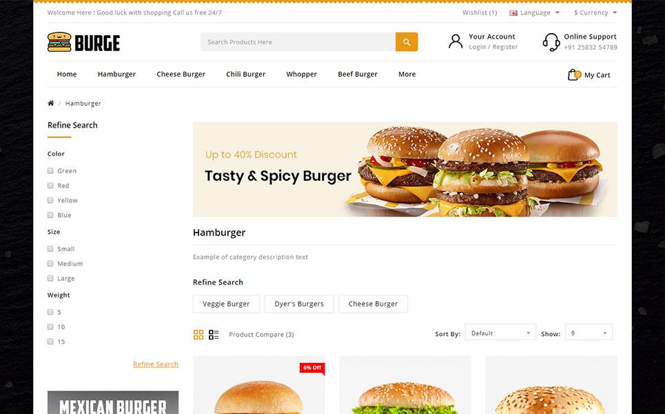Burge - Fast Food Store OpenCart Template