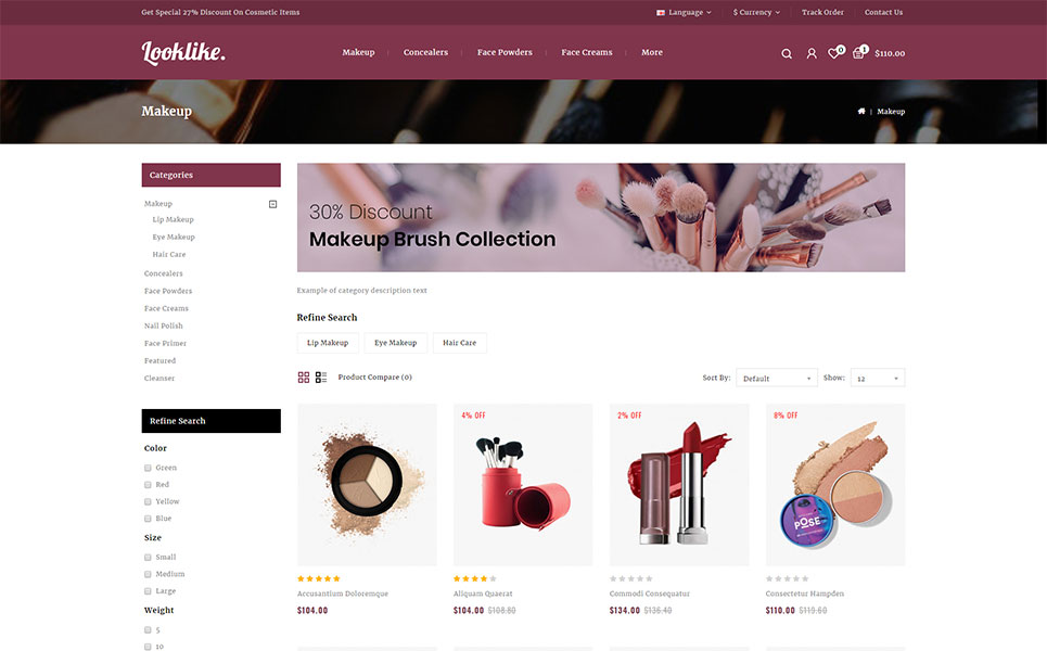 LookLike - Cosmetics Store OpenCart Template