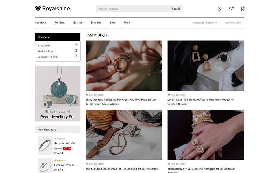 Royalshine - Jewellery Store PrestaShop Theme