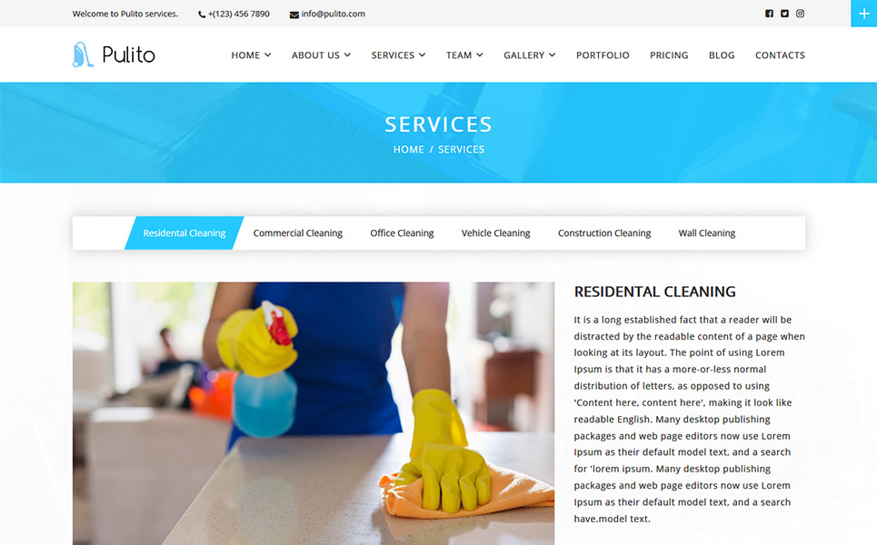Pulito - Cleaning Services WordPress Theme