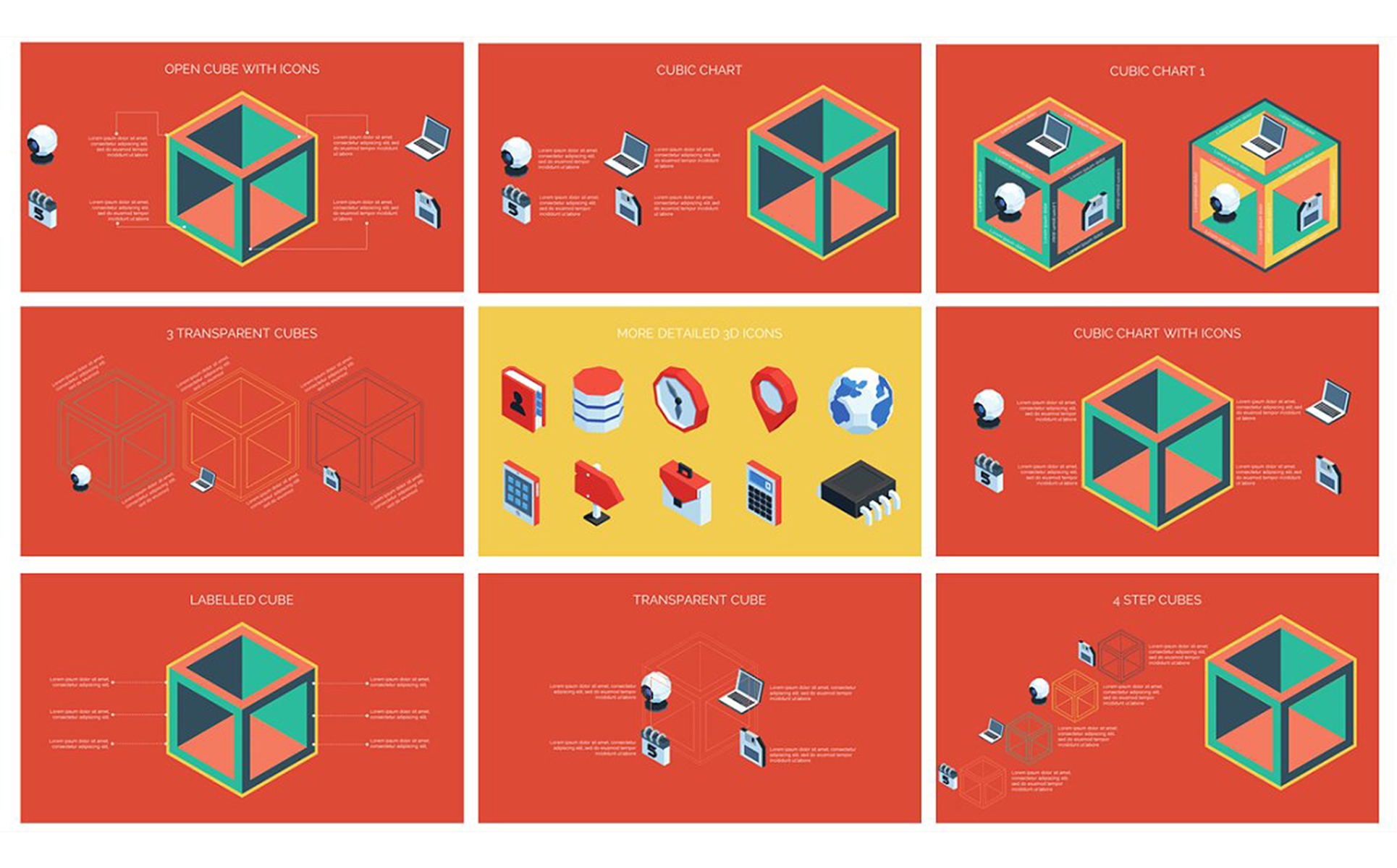3D Cube Infographics vol.2 PowerPoint Template