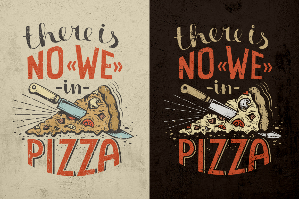 Pizza Lettering Poster Illustrations