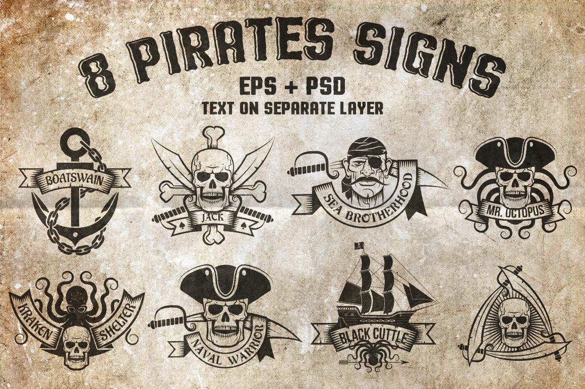 8 Pirates Signs Illustrations
