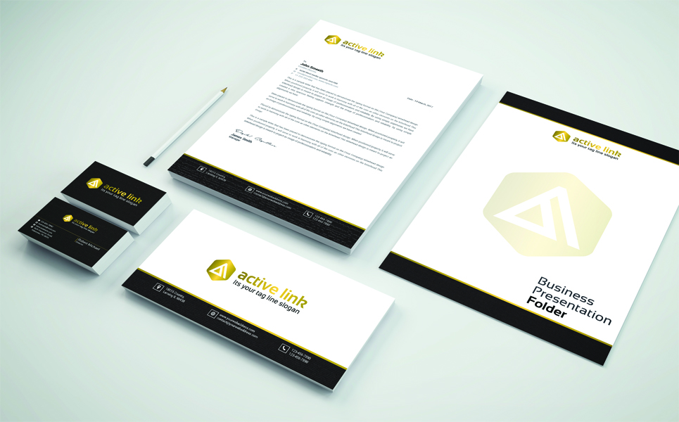 Black and Golden Stationary Corporate Identity