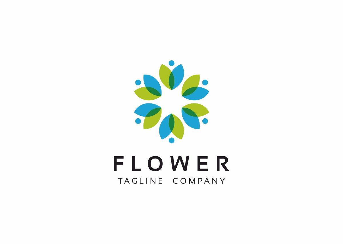 Flower Flat Green Logo Template