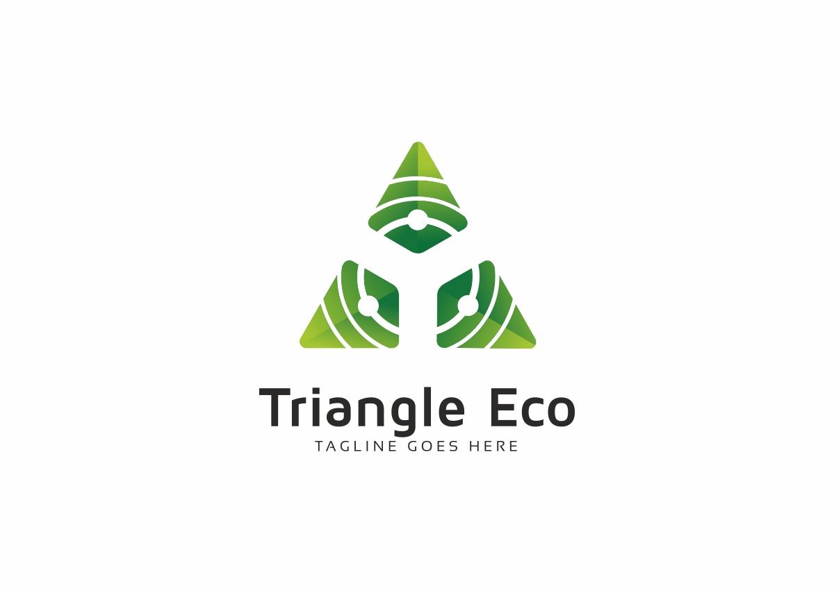 Triangle Eco Green Tech Logo Template