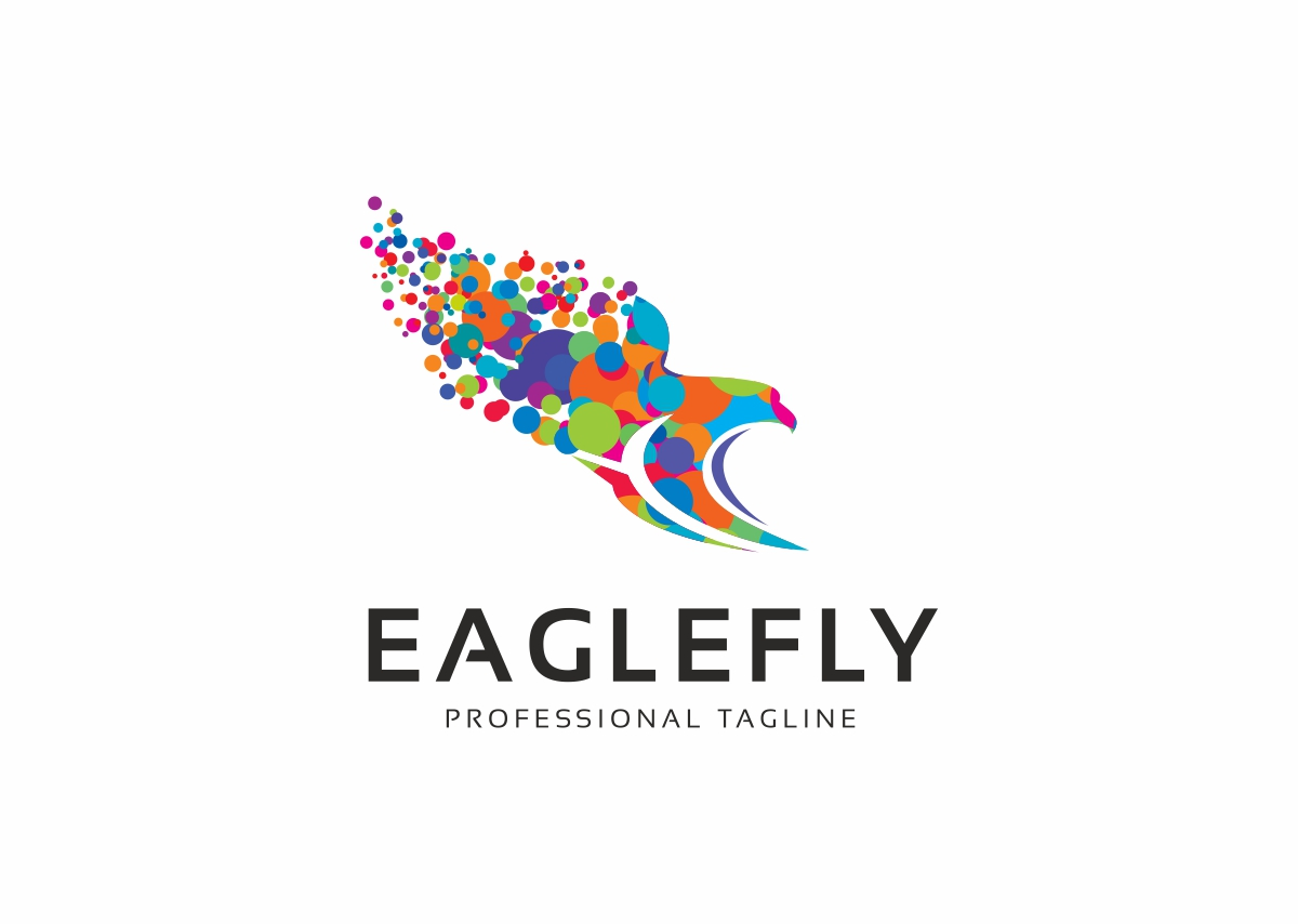 Eagle Fly Circle Colorful Logo Template