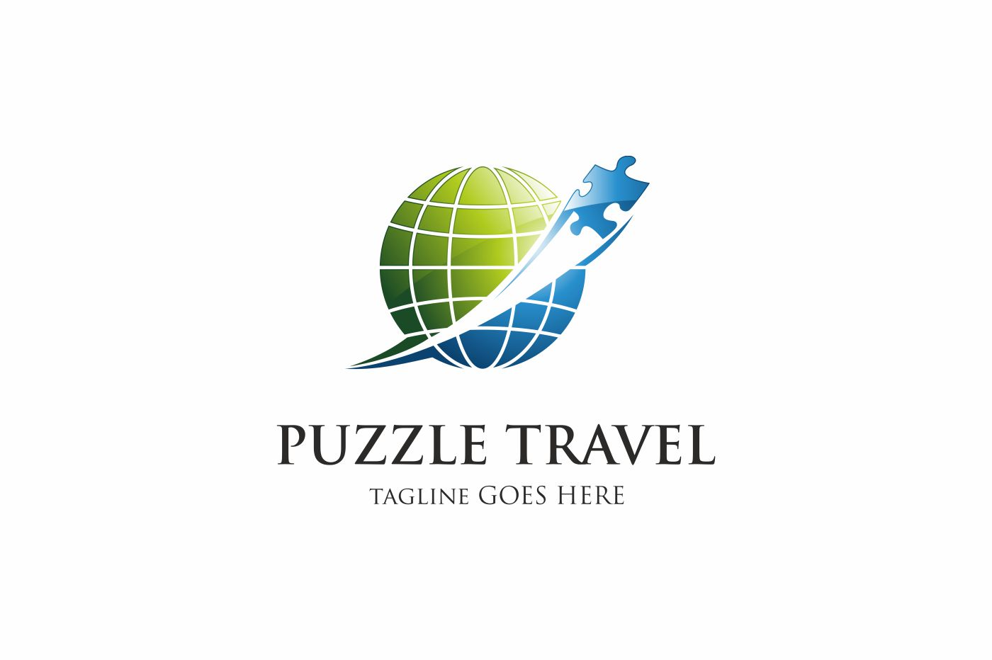 PUZZLE TRAVEL Logo Template