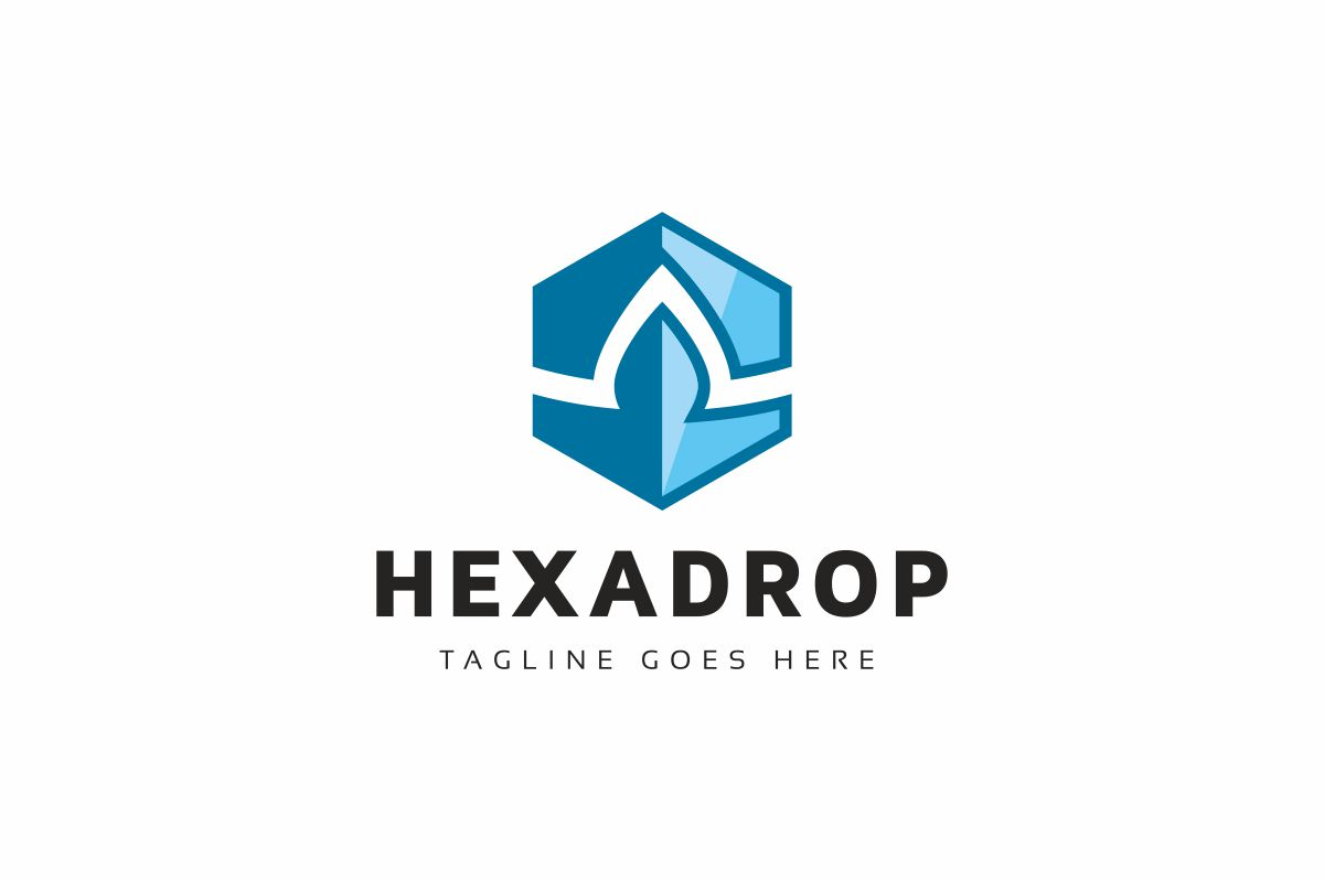 Hexagon Drop Logo Template