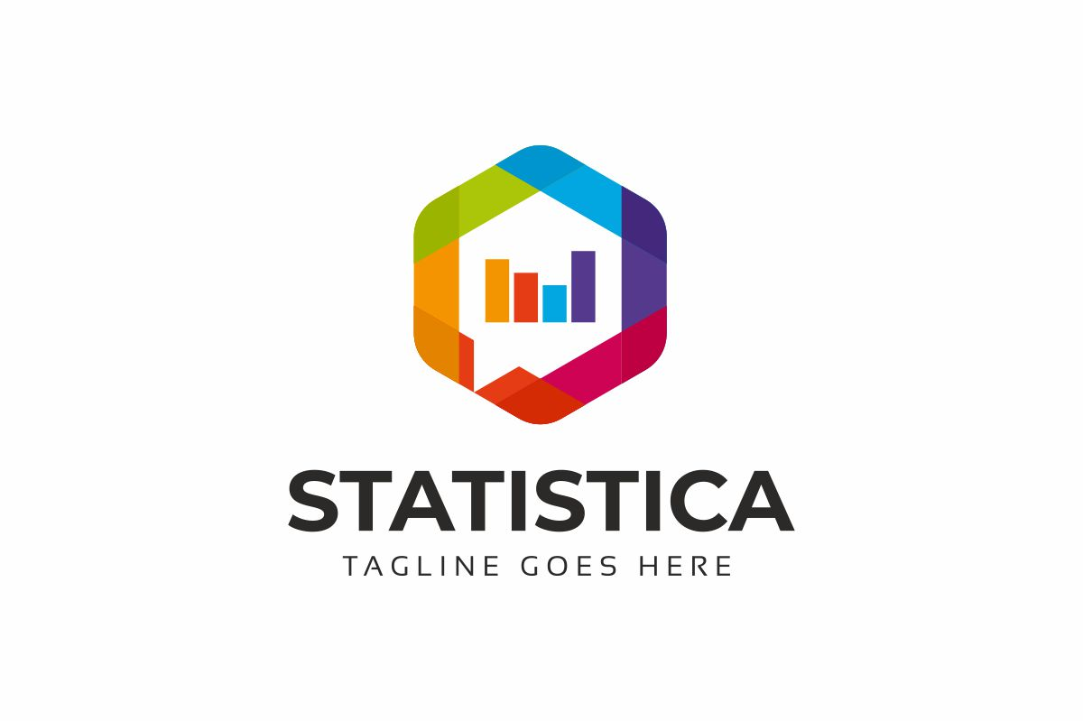 Statistics Hexagon Colorful Logo Template