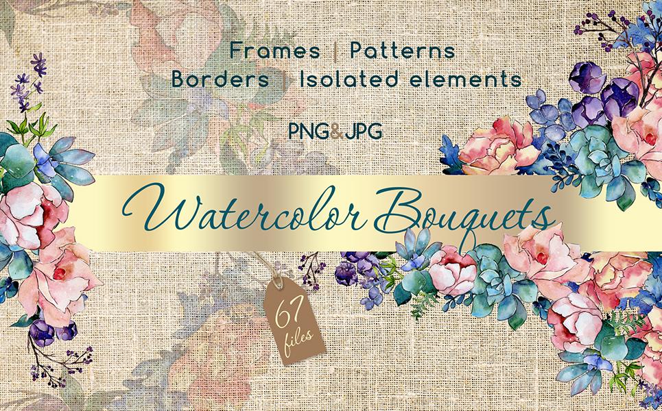 Watercolor Bouquet PNG Flower Set Illustrations