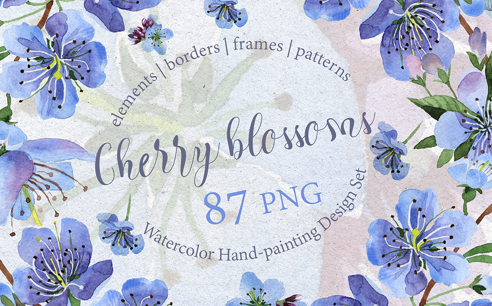 Cherry Blossoms - PNG watercolor Illustrations