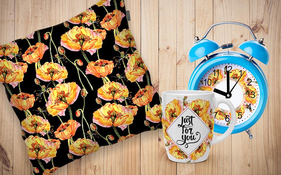 Cool Yellow Poppies PNG Watercolor Set Bundles