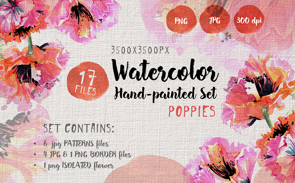 Gentle Poppies PNG Watercolor Set Illustrations