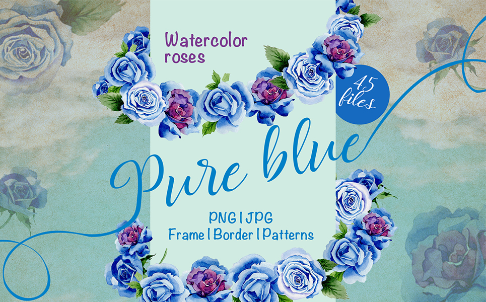 Beautiful Blue Roses - PNG Watercolor Flower Illustrations