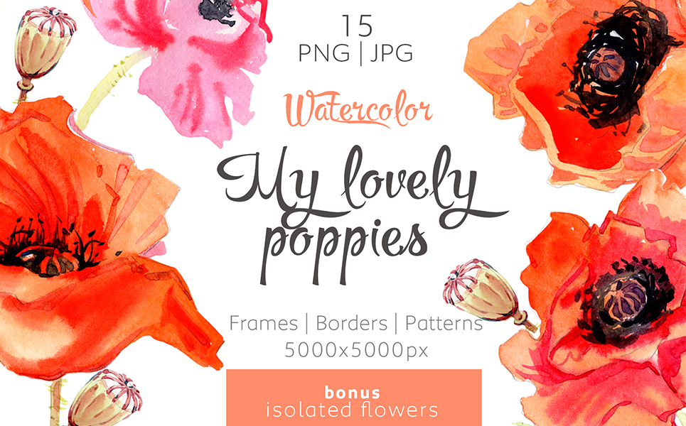 My Lovely Poppies - PNG Watercolor Illustrations