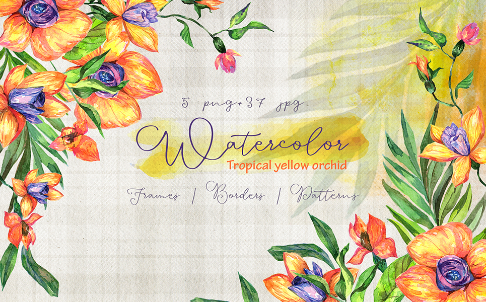 Tropical Yellow Orchid PNG Watercolor Set Illustrations