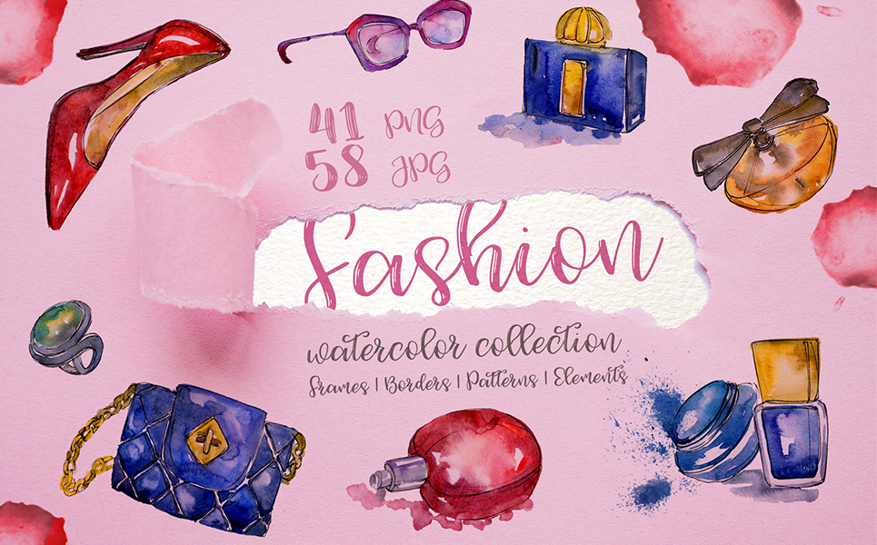 Fashion Glamour Illustration PNG watercolor set Illustrations