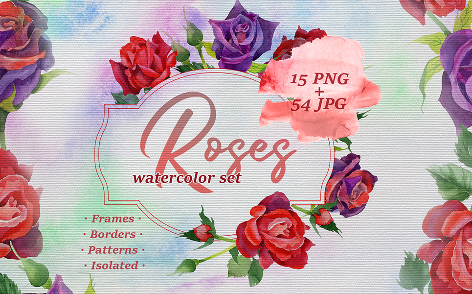 Roses Watercolor PNG Set Illustrations