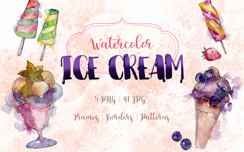 Watercolor Cool Ice Cream PNG Creative Set Illustrations