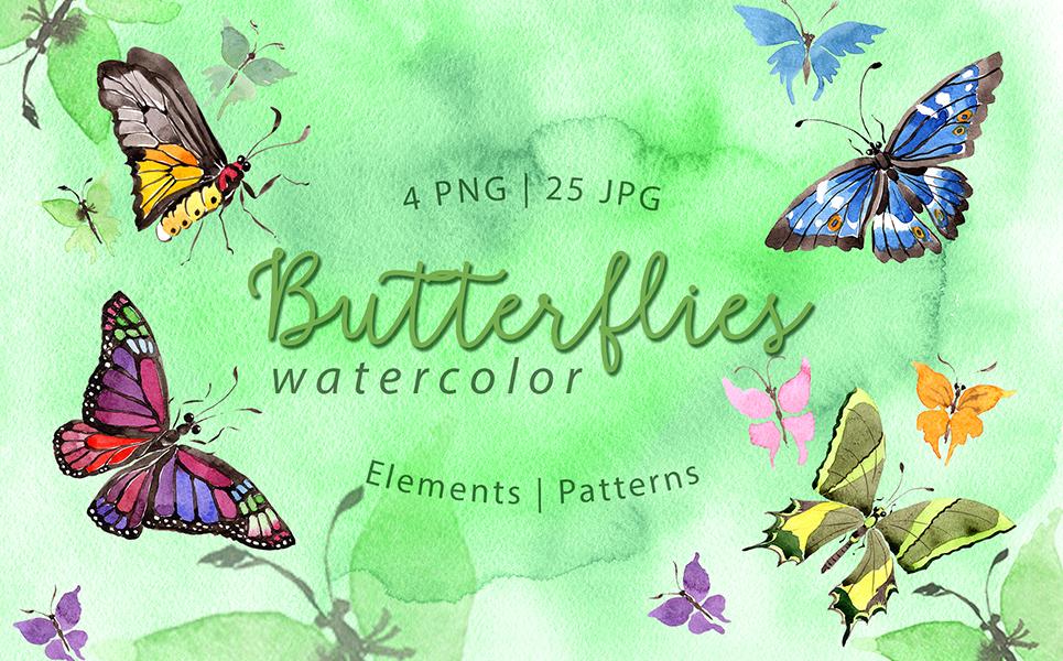 Exotic Butterflies PNG Watercolor Set Illustrations