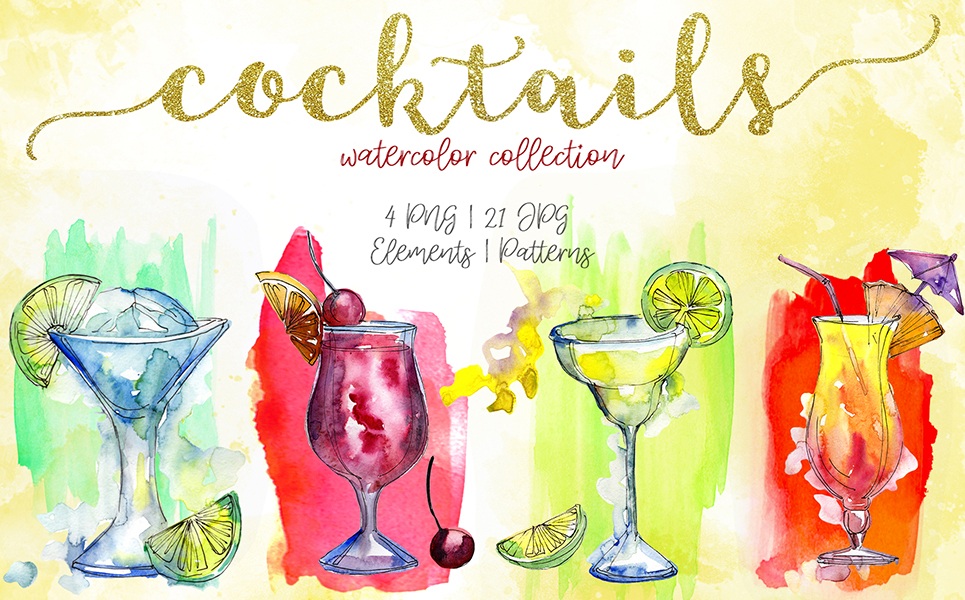Cocktails Watercolor Collection PNG Creative Set Illustrations