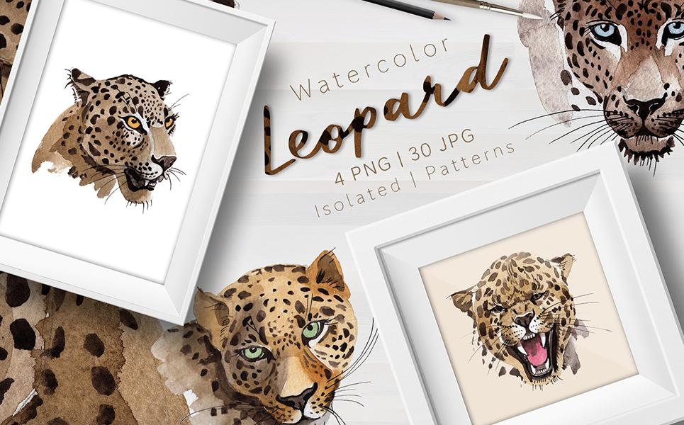 Leopard PNG Watercolor Set Illustrations
