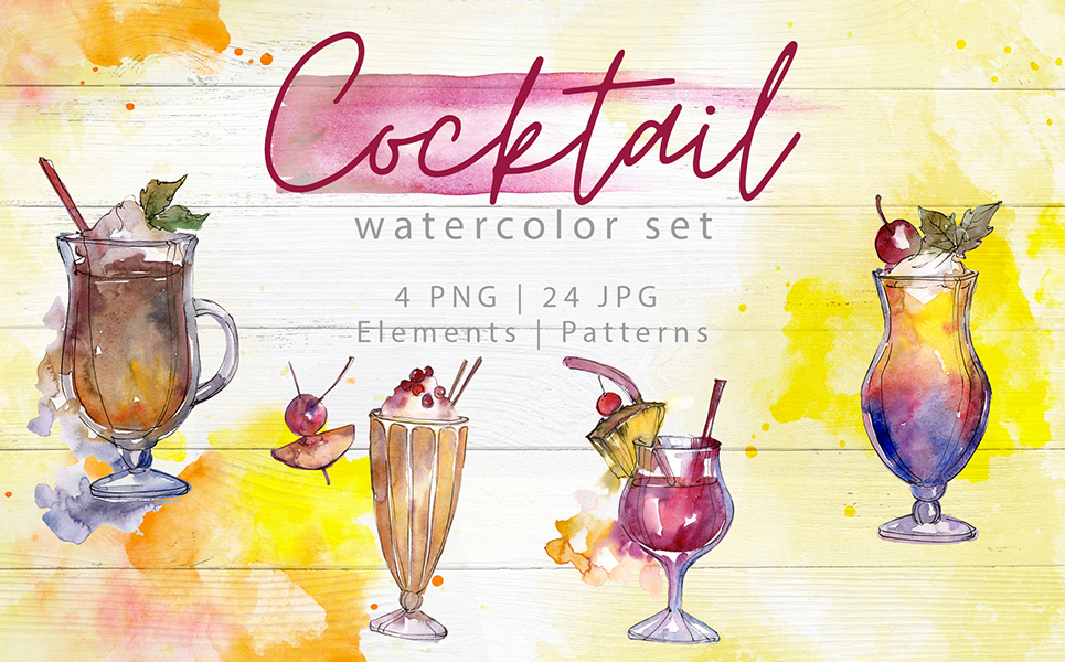 Beverages Collection PNG Watercolor Set Illustrations