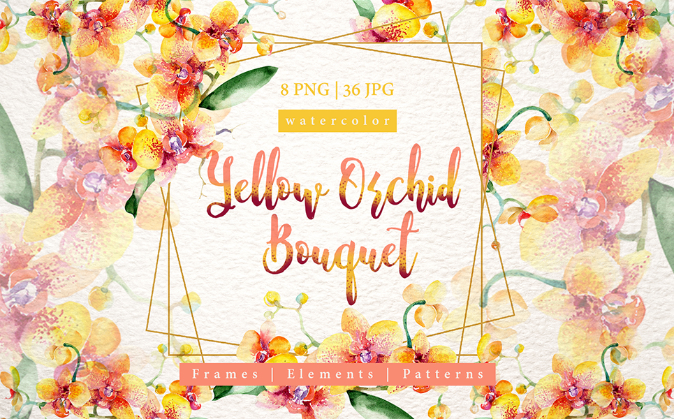 Yellow Orchid Bouquet PNG Watercolor Design Set Illustrations