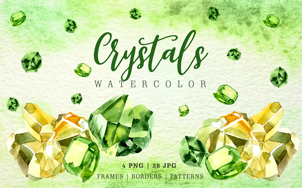 Aquarelle Yellow and Green Crystal PNG Set Illustrations