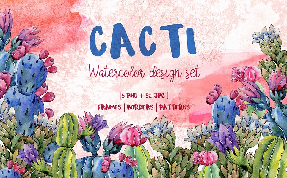 Cool Cacti Tropical flower PNG Watercolor Set Illustrations